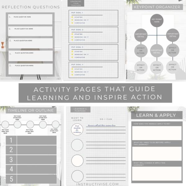 workbook template for course creators