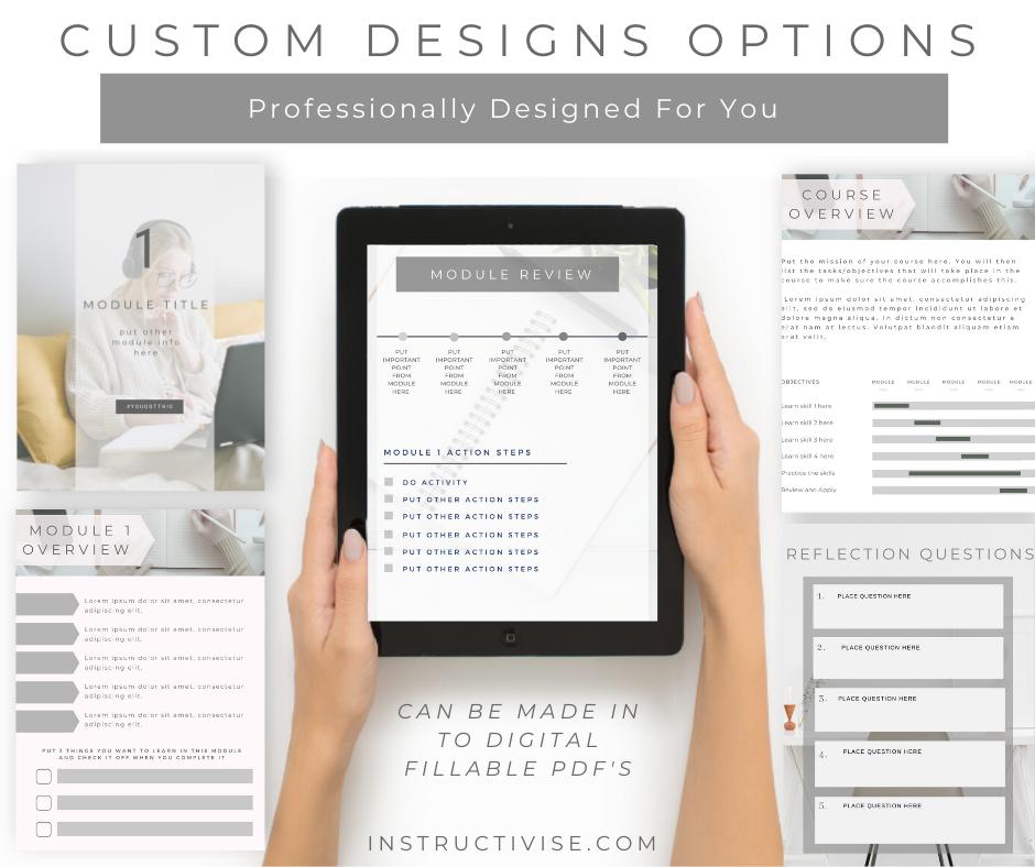 custom workbook designs